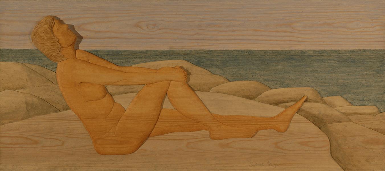 Sittande kvinna - 74x33cm