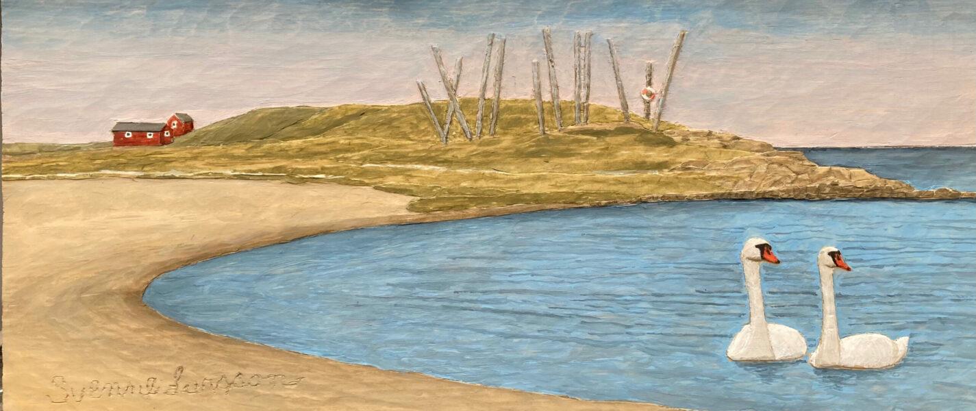 Garnberget med knölsvanar - 17x38 cm